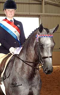 with Amanda Reid on her Farleigh bred champion won the National junior Rider of the Year 2004